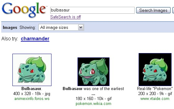 No, Google, I want Bulbasaur!