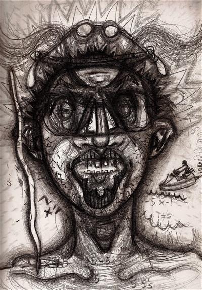artist paints using different drugs