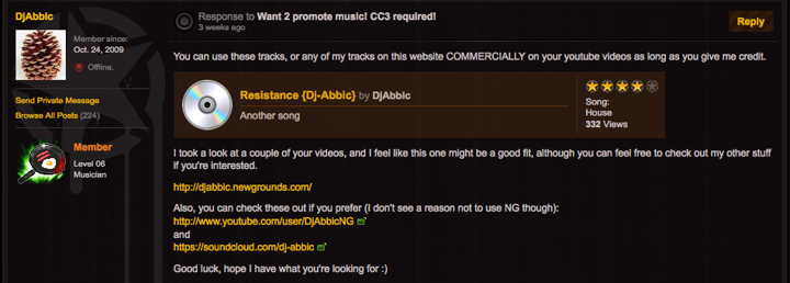 Want 2 promote music! CC3 required!