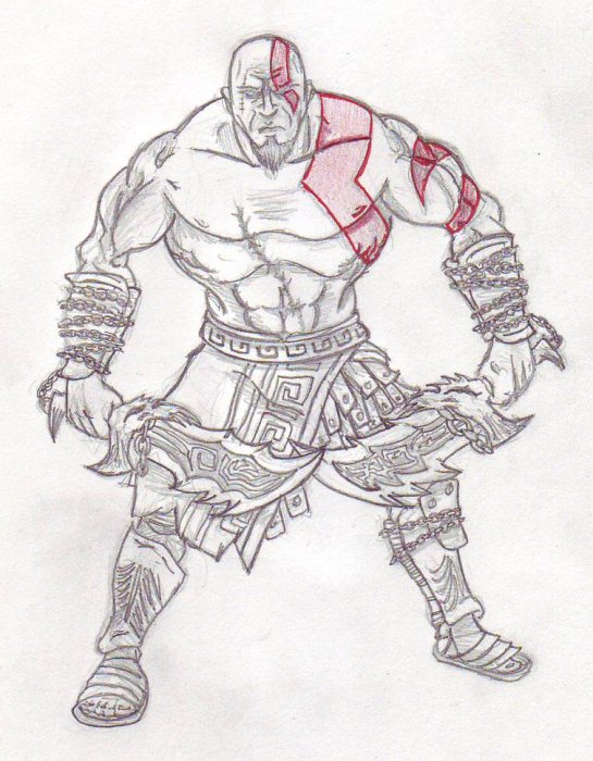 Tattoo Sketch Drawings A quick sketch of Kratos ( GoW2 version ) with