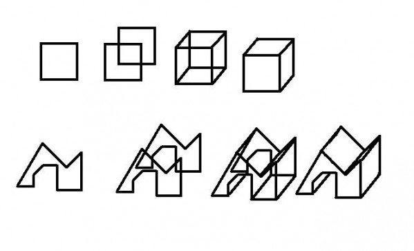 The easiest way to draw 3D shapes is to do that.