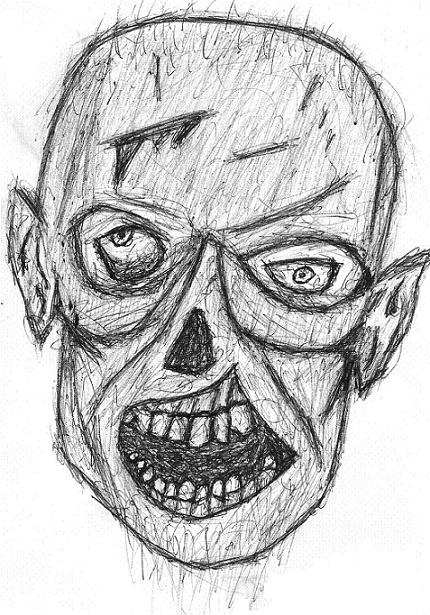 quick sketch of a zombie face  in PEN so  sorry about the shizeness Zombie Face Drawing