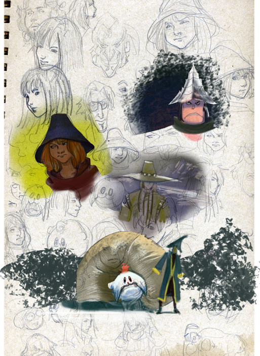Sketchbook drawings and colorings