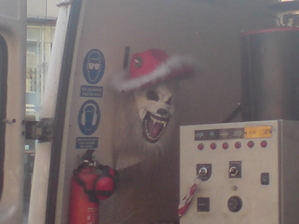 Seen a weird mask in this guy's van