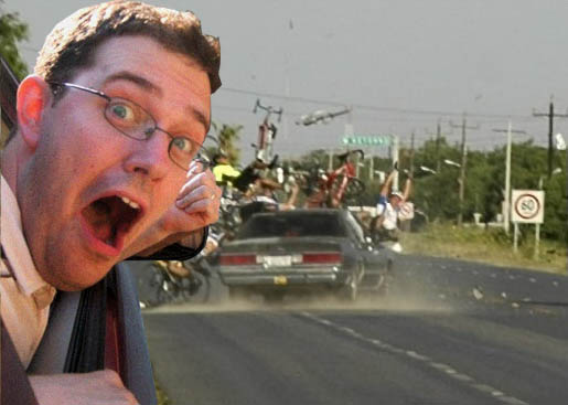 Photoshop guy pointing out of a car