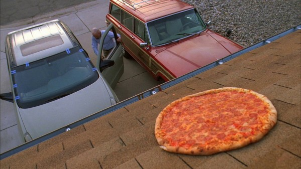 throwing pizza on the roof