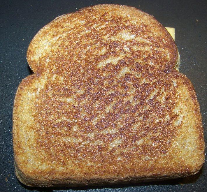 Frying bread.