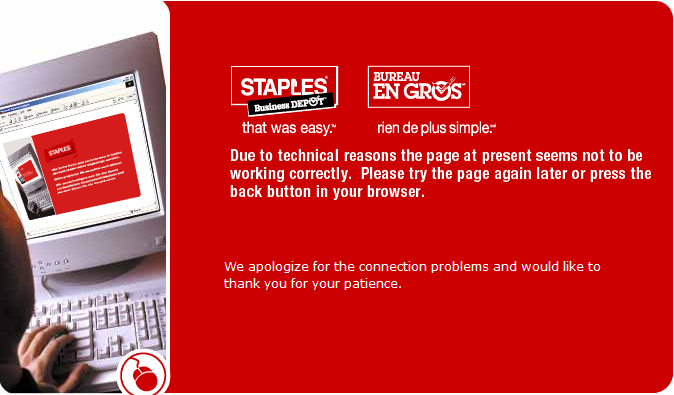 Staples.ca error page: Old as fuck