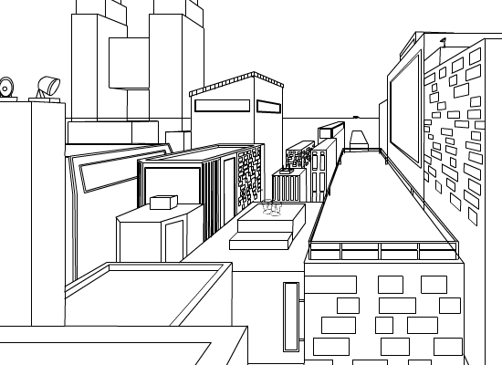 One Point Perspective City