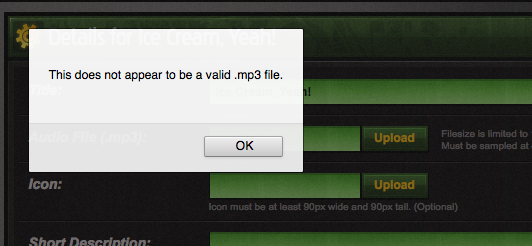 Why can't I upload audio?
