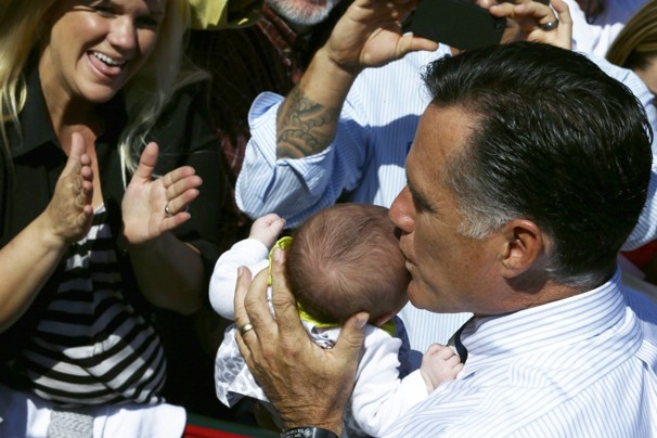 Romney kissing babies